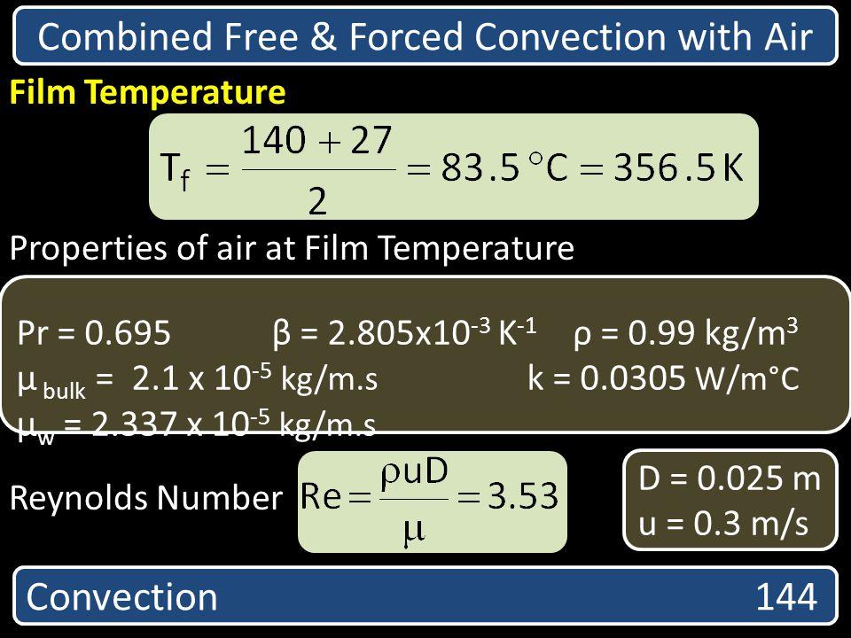 Convection 144 Film Temperature Properties of air at Film Temperature Reynolds Number Pr = 0.695 β = 2.805x10 -3 K -1 ρ = 0.99 kg/m 3 µ bulk = 2.1 x 1