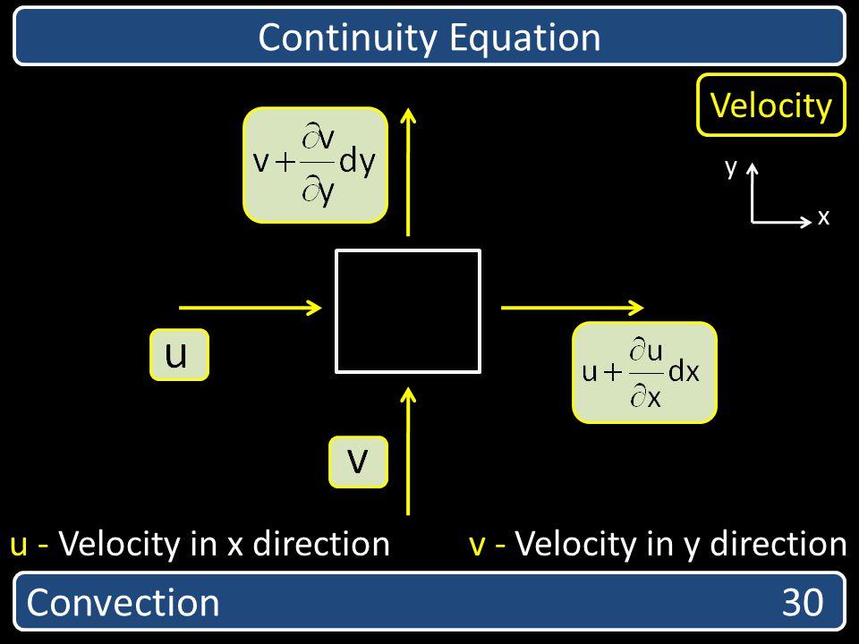 Convection 30 Continuity Equation x y u - Velocity in x direction v - Velocity in y direction Velocity