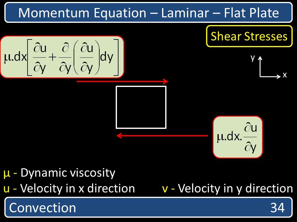 Convection 34 Momentum Equation – Laminar – Flat Plate x y Shear Stresses µ - Dynamic viscosity u - Velocity in x direction v - Velocity in y directio