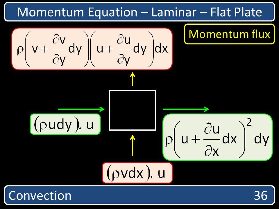 Convection 36 Momentum Equation – Laminar – Flat Plate Momentum flux
