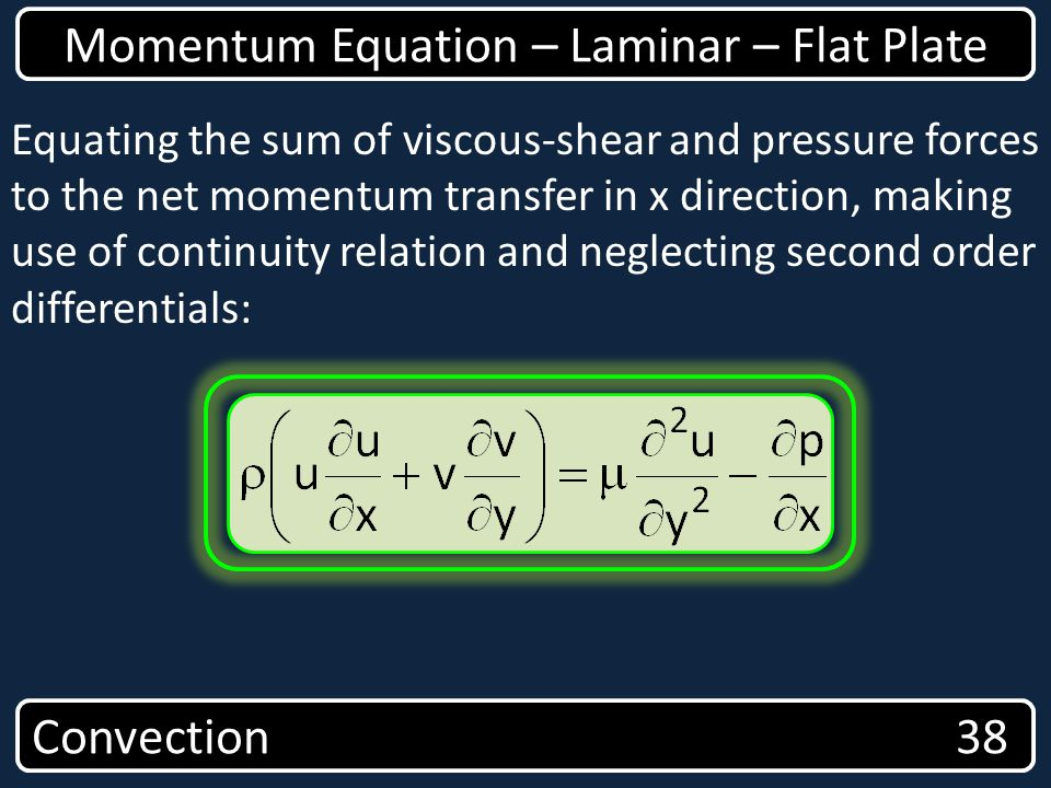 Convection 38 Momentum Equation – Laminar – Flat Plate Equating the sum of viscous-shear and pressure forces to the net momentum transfer in x directi