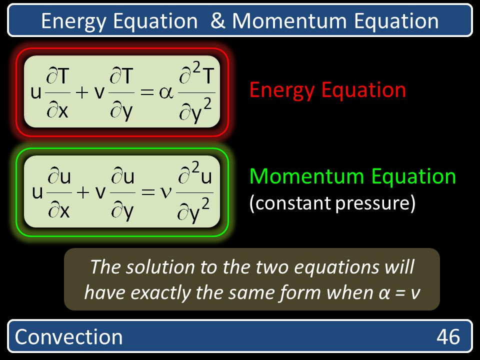 Convection 46 Energy Equation & Momentum Equation Energy Equation Momentum Equation (constant pressure) The solution to the two equations will have ex