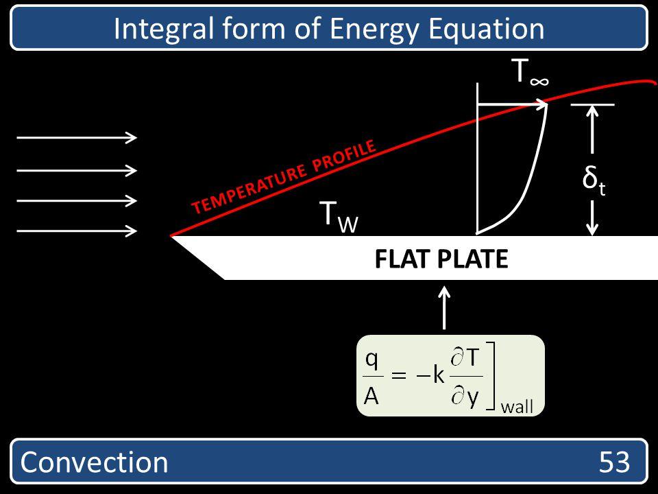 Convection 53 Integral form of Energy Equation FLAT PLATE T δtδt TWTW TEMPERATURE PROFILE
