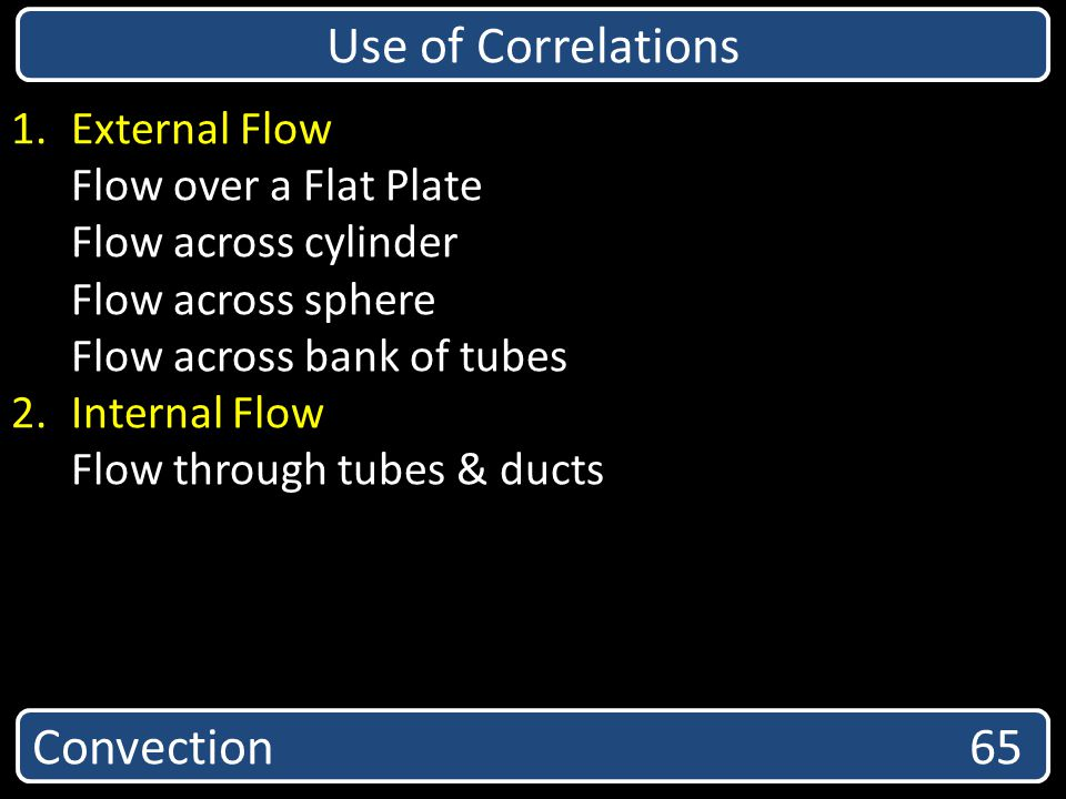 Convection 65 Use of Correlations 1.External Flow Flow over a Flat Plate Flow across cylinder Flow across sphere Flow across bank of tubes 2.Internal