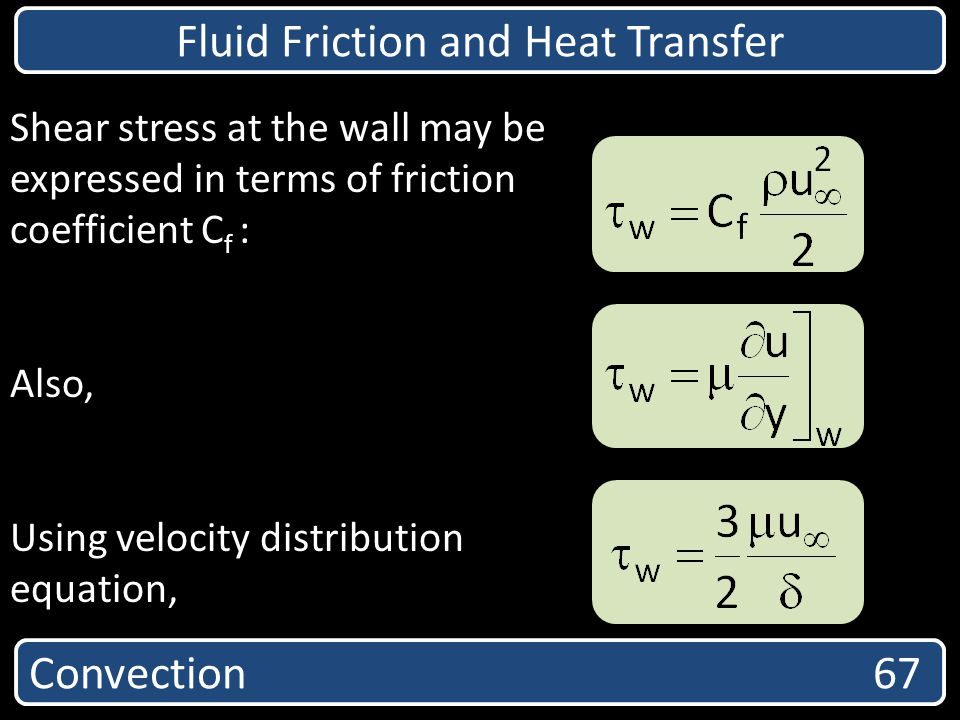 Convection 67 Fluid Friction and Heat Transfer Shear stress at the wall may be expressed in terms of friction coefficient C f : Also, Using velocity d