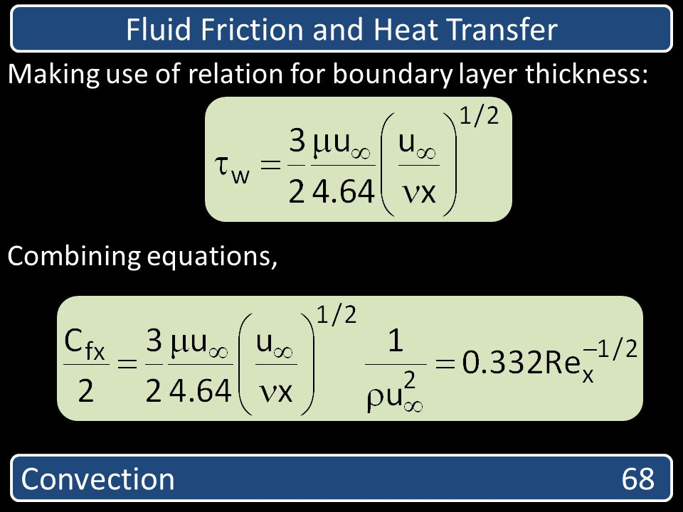 Convection 68 Fluid Friction and Heat Transfer Making use of relation for boundary layer thickness: Combining equations,