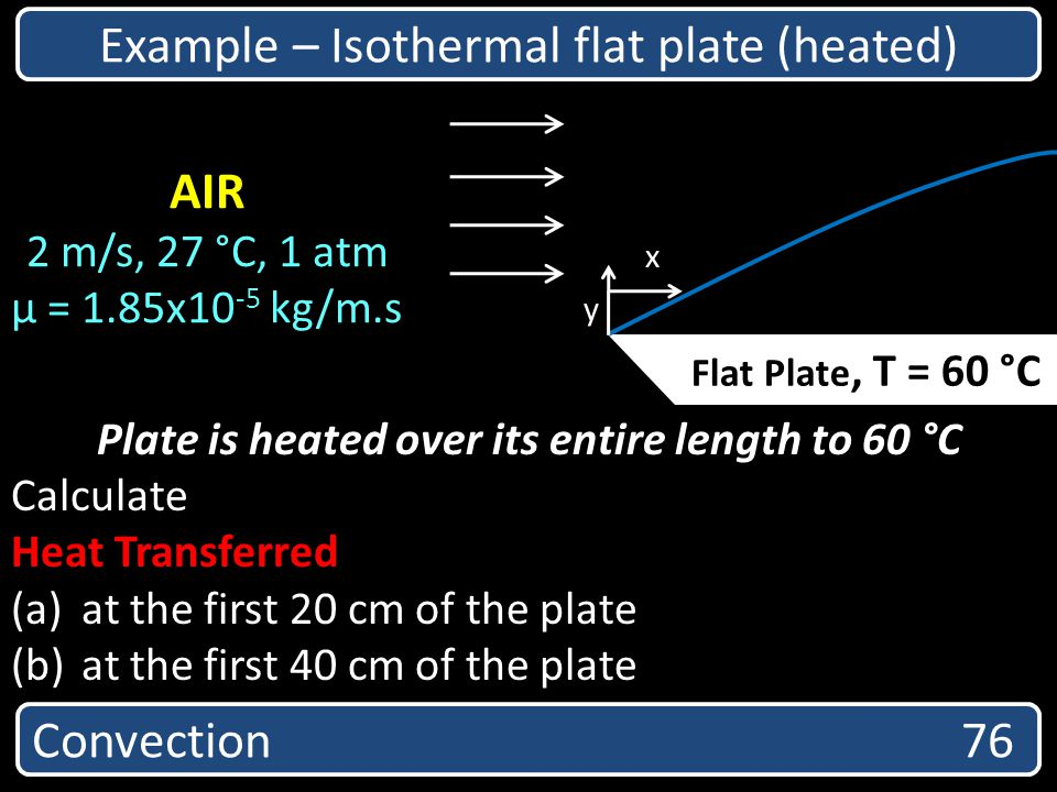 Convection 76 Example – Isothermal flat plate (heated) Plate is heated over its entire length to 60 °C Calculate Heat Transferred (a) at the first 20