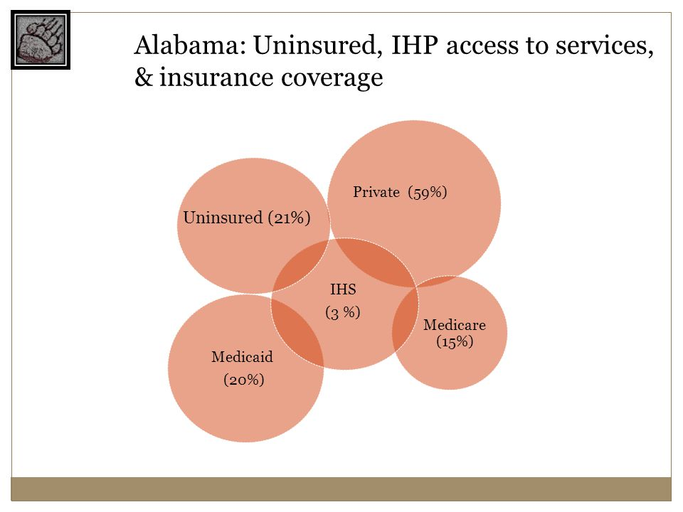Medicaid (20%) Medicare (15%) Private (59%) IHS (3 %) Uninsured (21%) Alabama: Uninsured, IHP access to services, & insurance coverage