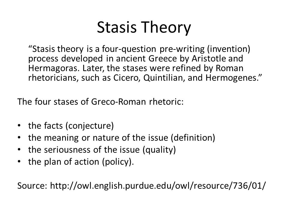 Stasis Theory Stasis theory is a four-question pre-writing (invention) process developed in ancient Greece by Aristotle and Hermagoras. Later, the sta
