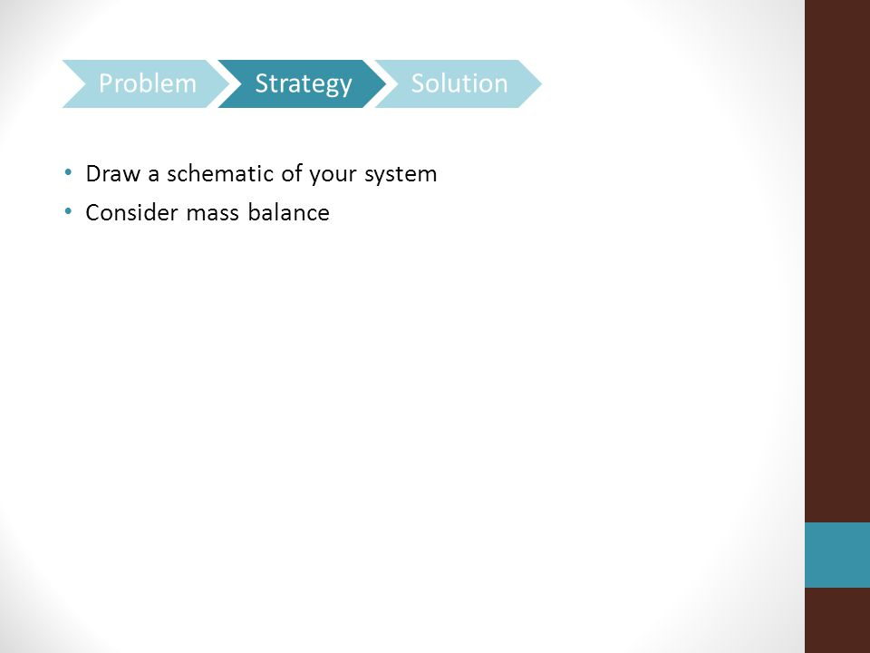 Draw a schematic of your system Consider mass balance