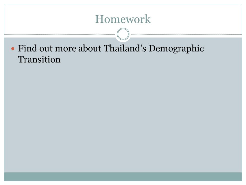 Homework Find out more about Thailands Demographic Transition