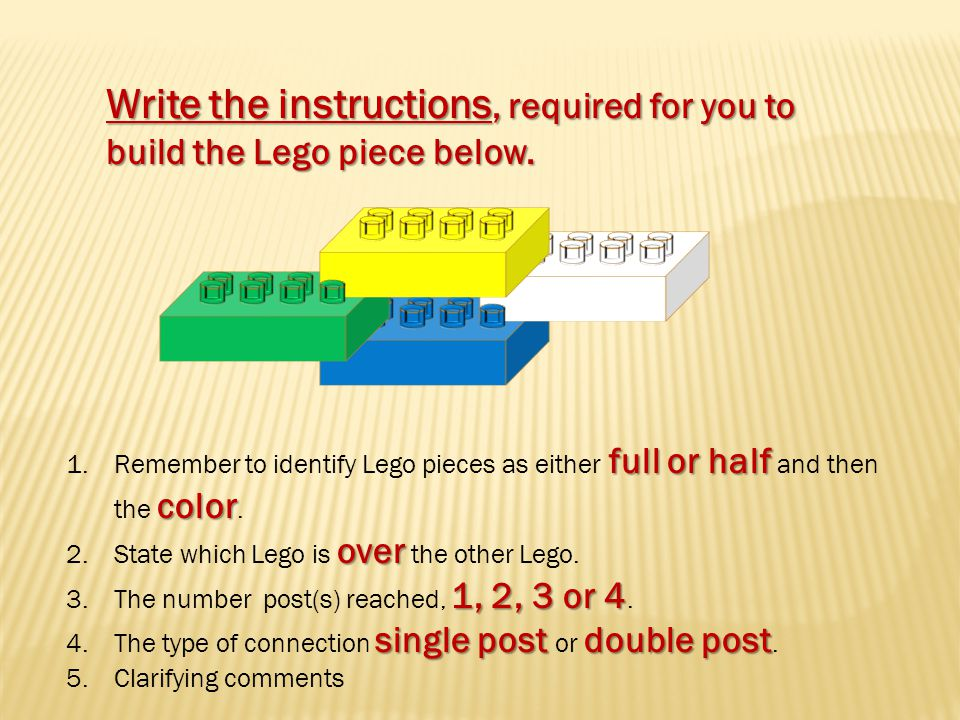 Write the instructions, required for you to build the Lego piece below.