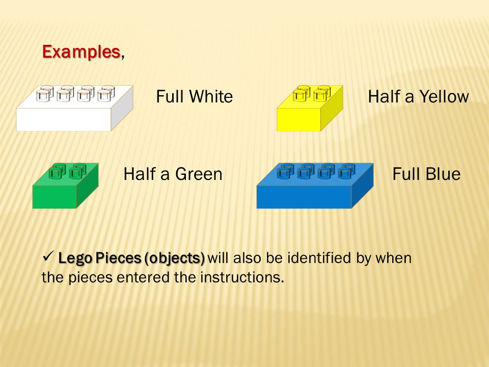 Examples Examples, Full White Half a GreenFull Blue Half a Yellow Lego Pieces (objects) Lego Pieces (objects) will also be identified by when the pieces entered the instructions.