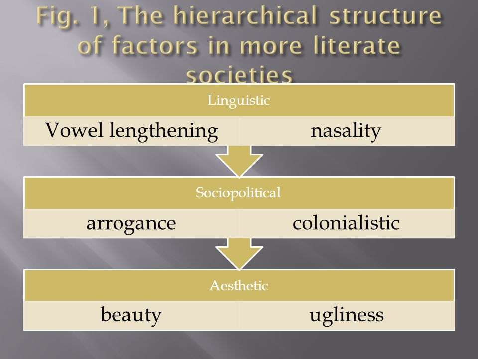 Aesthetic beautyugliness Sociopolitical arrogancecolonialistic Linguistic Vowel lengtheningnasality