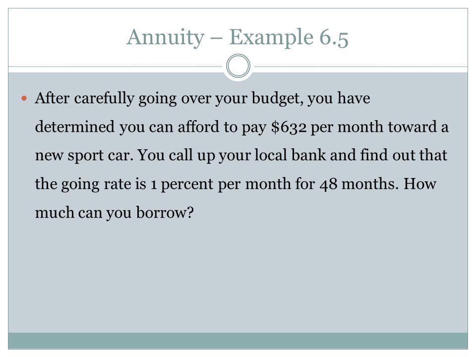 Annuity – Sweepstakes Example Suppose you win the Publishers Clearinghouse $10 million sweepstakes.