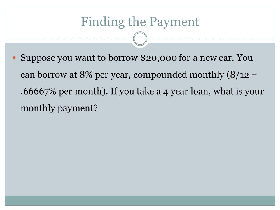 Finding number of payments How many $100 payments will pay off a $5,000 loan at 1% per period?