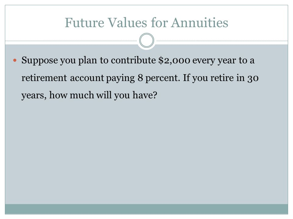 Suppose you begin saving for your retirement by depositing $2,000 per year in an IRA.