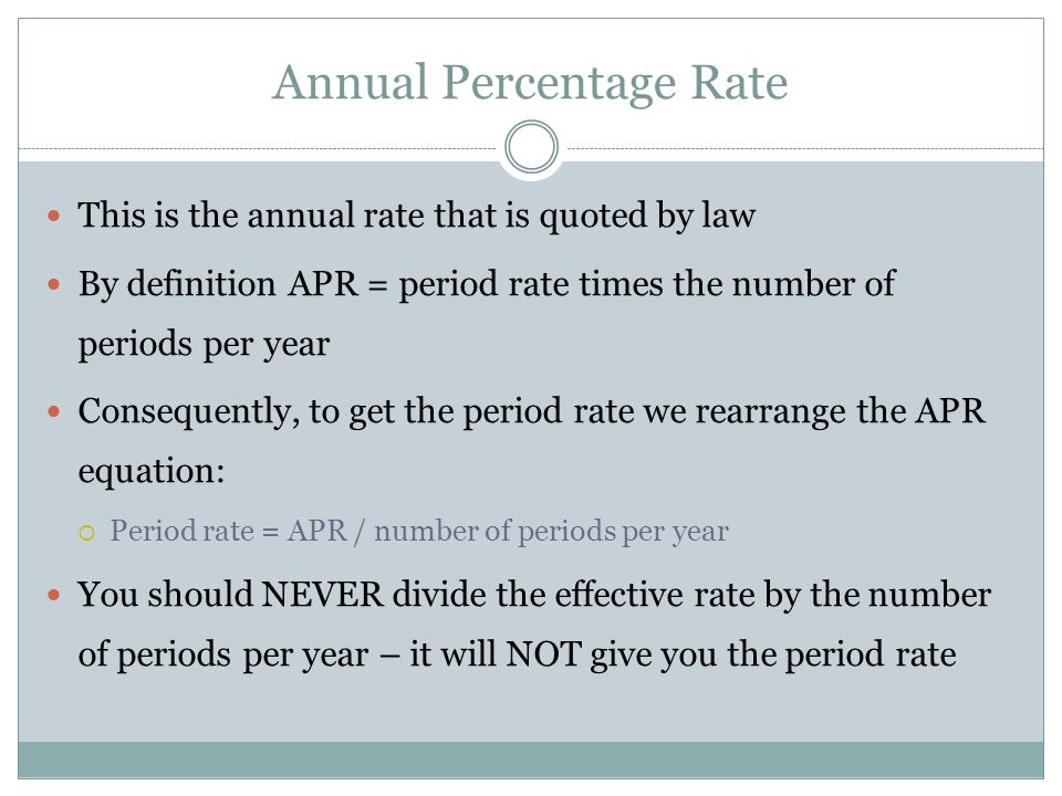 Computing APRs What is the APR if the monthly rate is.5%.