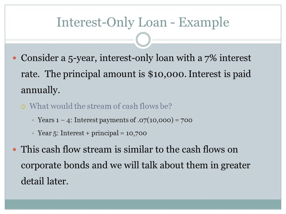 Amortized Loan with Fixed Principal Payment - Example Consider a $50,000, 10 year loan at 8% interest.
