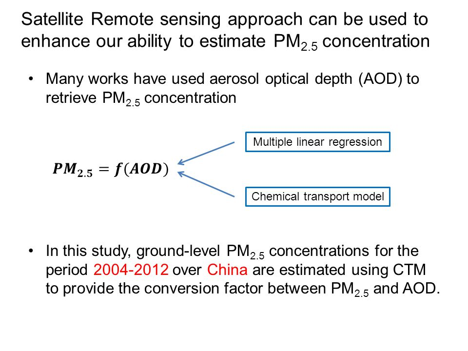 Satellite Remote sensing approach can be used to enhance our ability to estimate PM 2.5 concentration Many works have used aerosol optical depth (AOD)