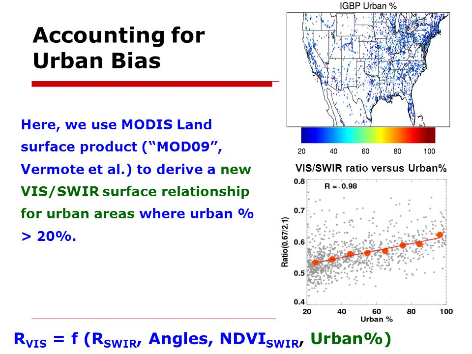 Accounting for Urban Bias Here, we use MODIS Land surface product (MOD09, Vermote et al.) to derive a new VIS/SWIR surface relationship for urban area