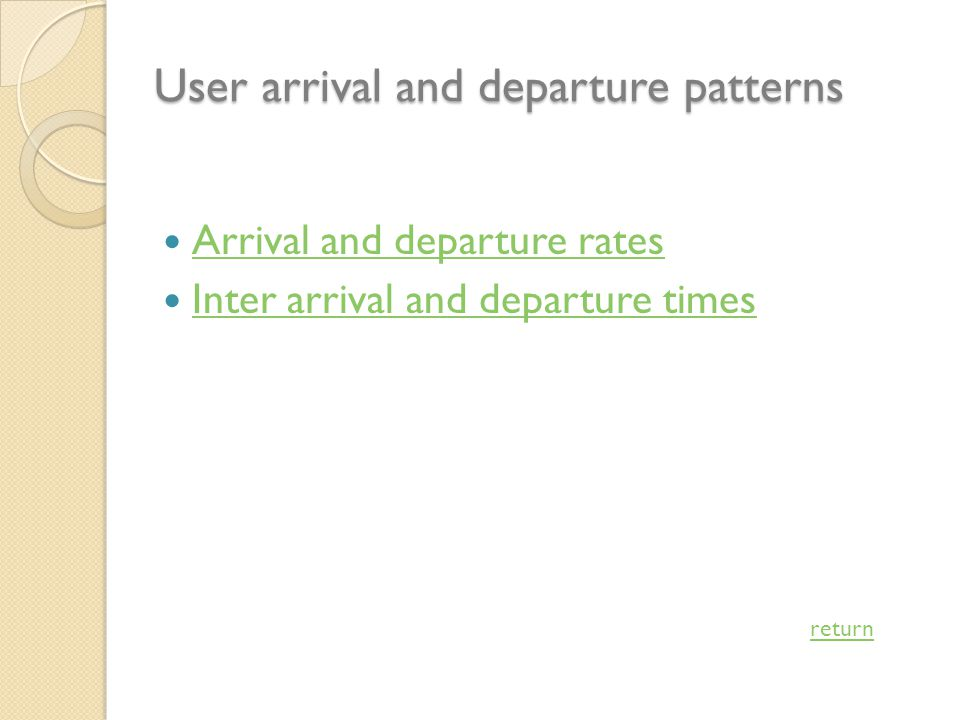 User arrival and departure patterns Arrival and departure rates Inter arrival and departure times return