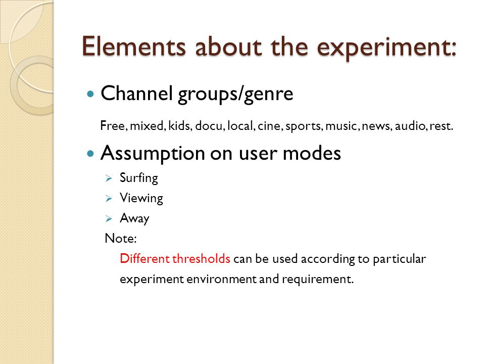 Elements about the experiment: Channel groups/genre Free, mixed, kids, docu, local, cine, sports, music, news, audio, rest.