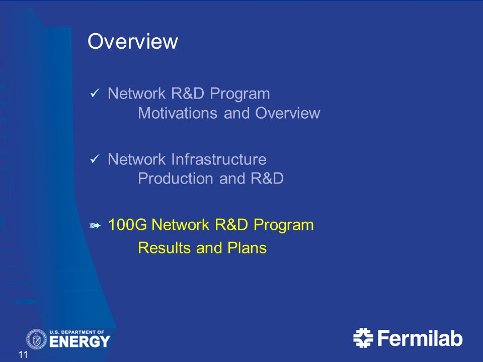 Overview Network R&D Program Motivations and Overview Network Infrastructure Production and R&D 100G Network R&D Program Results and Plans 11