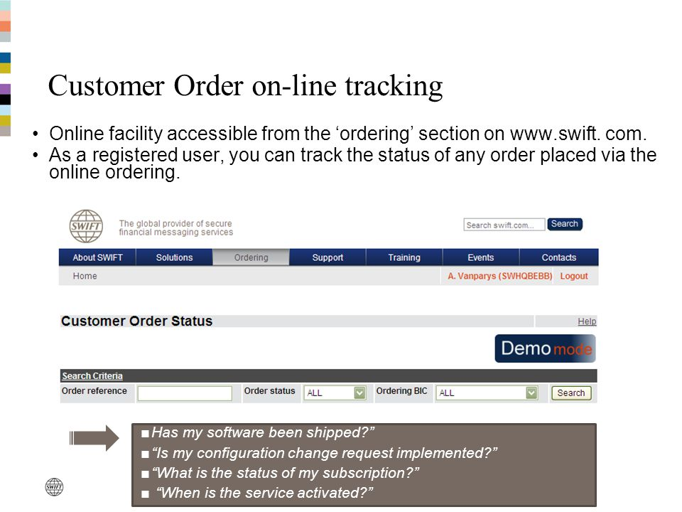 Customer Order on-line tracking Online facility accessible from the ordering section on www.swift. com. As a registered user, you can track the status