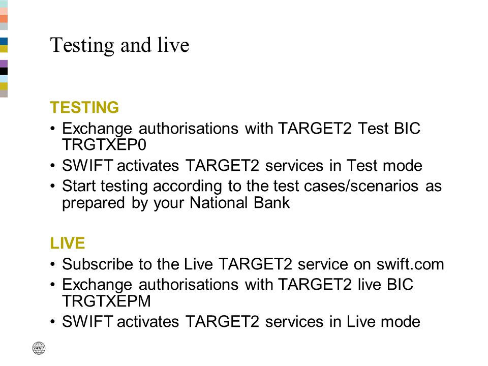 Testing and live TESTING Exchange authorisations with TARGET2 Test BIC TRGTXEP0 SWIFT activates TARGET2 services in Test mode Start testing according