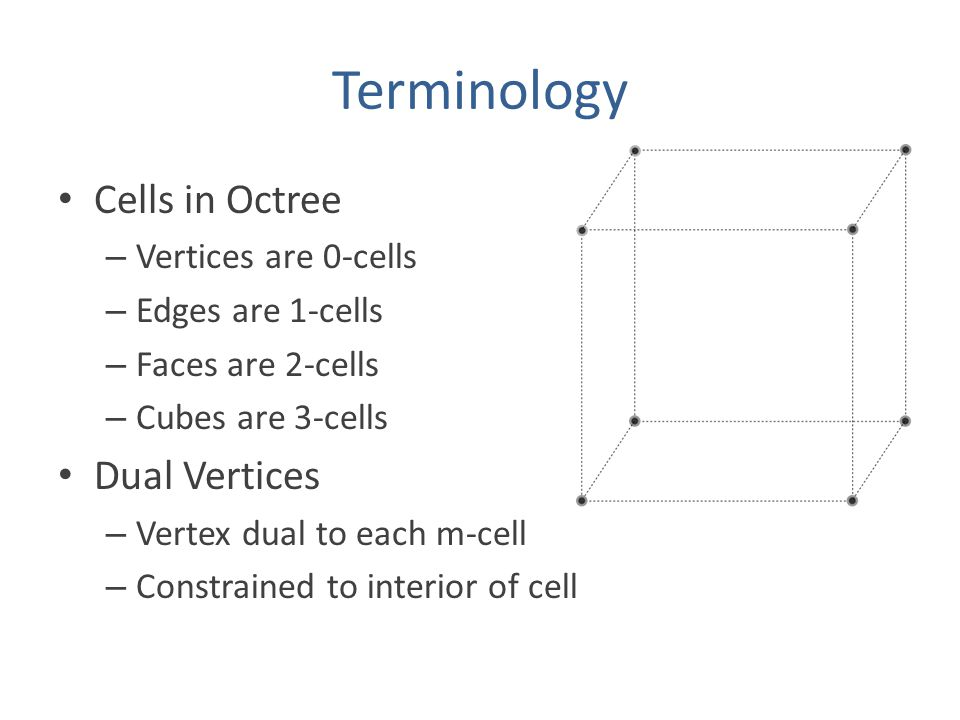 Terminology Cells in Octree – Vertices are 0-cells – Edges are 1-cells – Faces are 2-cells – Cubes are 3-cells Dual Vertices – Vertex dual to each m-cell – Constrained to interior of cell