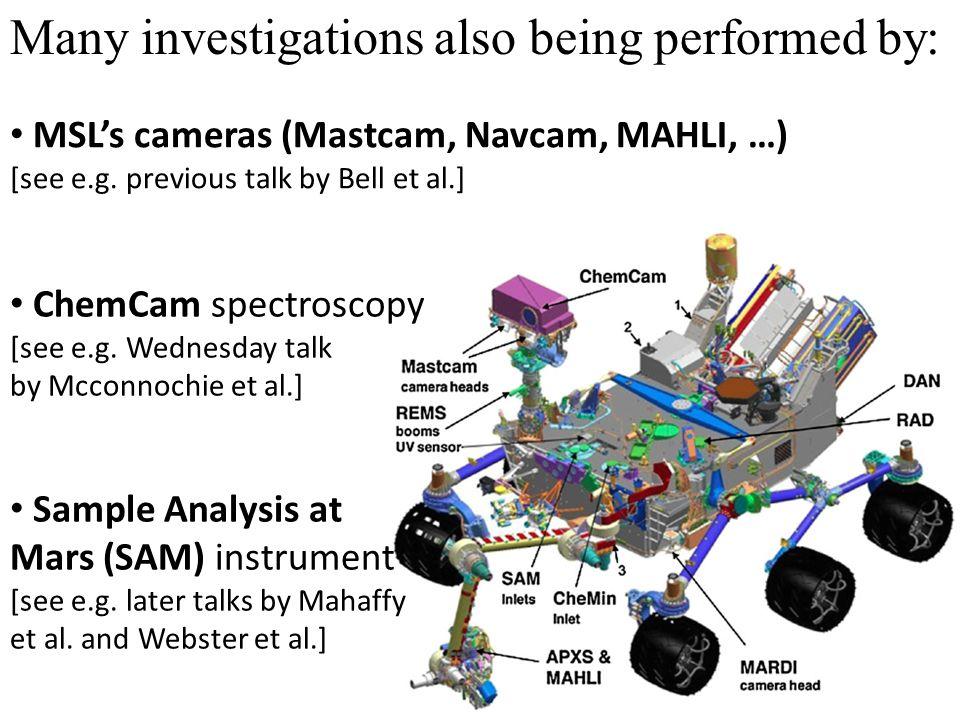 ChemCam spectroscopy [see e.g. Wednesday talk by Mcconnochie et al.] Sample Analysis at Mars (SAM) instrument [see e.g. later talks by Mahaffy et al.