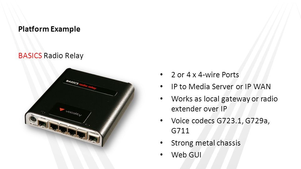 Platform Example BASICS Radio Relay 2 or 4 x 4-wire Ports IP to Media Server or IP WAN Works as local gateway or radio extender over IP Voice codecs G723.1, G729a, G711 Strong metal chassis Web GUI