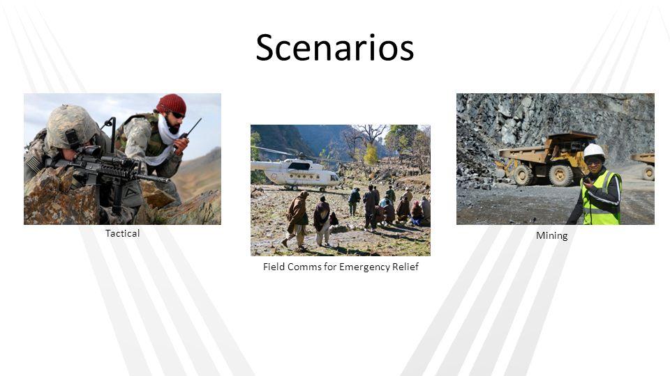 Scenarios Tactical Field Comms for Emergency Relief Mining