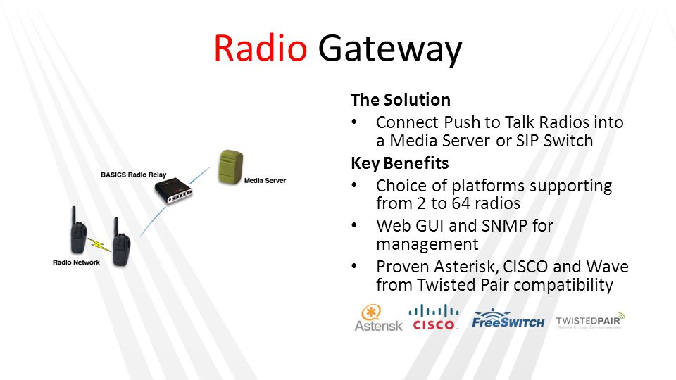 Radio Gateway The Solution Connect Push to Talk Radios into a Media Server or SIP Switch Key Benefits Choice of platforms supporting from 2 to 64 radi