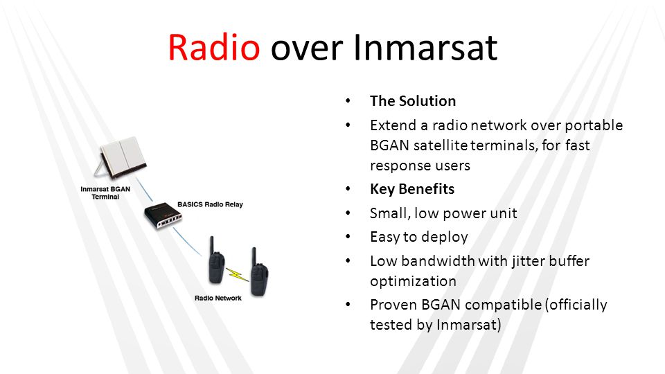 Radio over Inmarsat The Solution Extend a radio network over portable BGAN satellite terminals, for fast response users Key Benefits Small, low power unit Easy to deploy Low bandwidth with jitter buffer optimization Proven BGAN compatible (officially tested by Inmarsat)