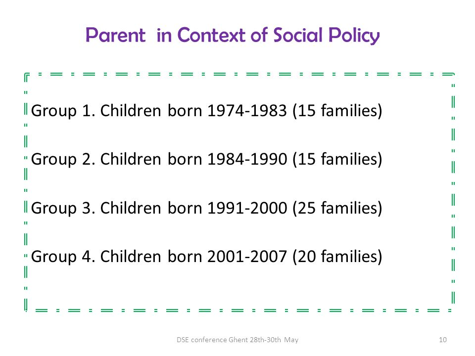 Parent in Context of Social Policy Group 1. Children born 1974-1983 (15 families) Group 2. Children born 1984-1990 (15 families) Group 3. Children bor