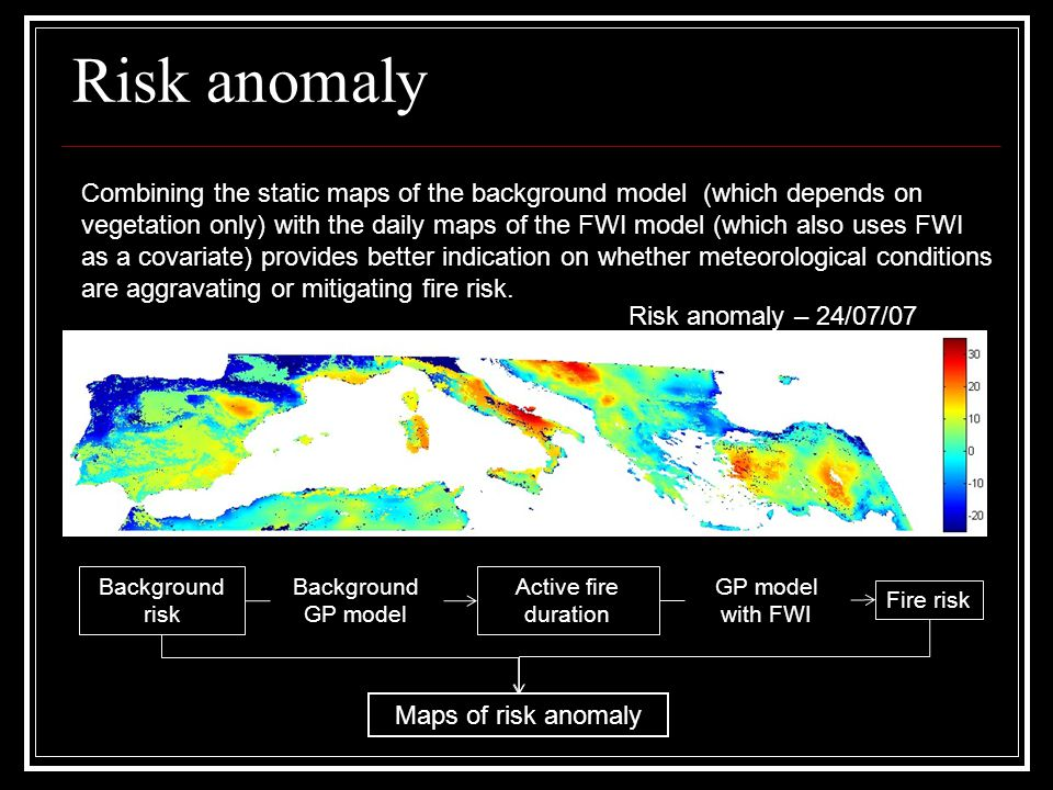 Risk anomaly Combining the static maps of the background model (which depends on vegetation only) with the daily maps of the FWI model (which also use