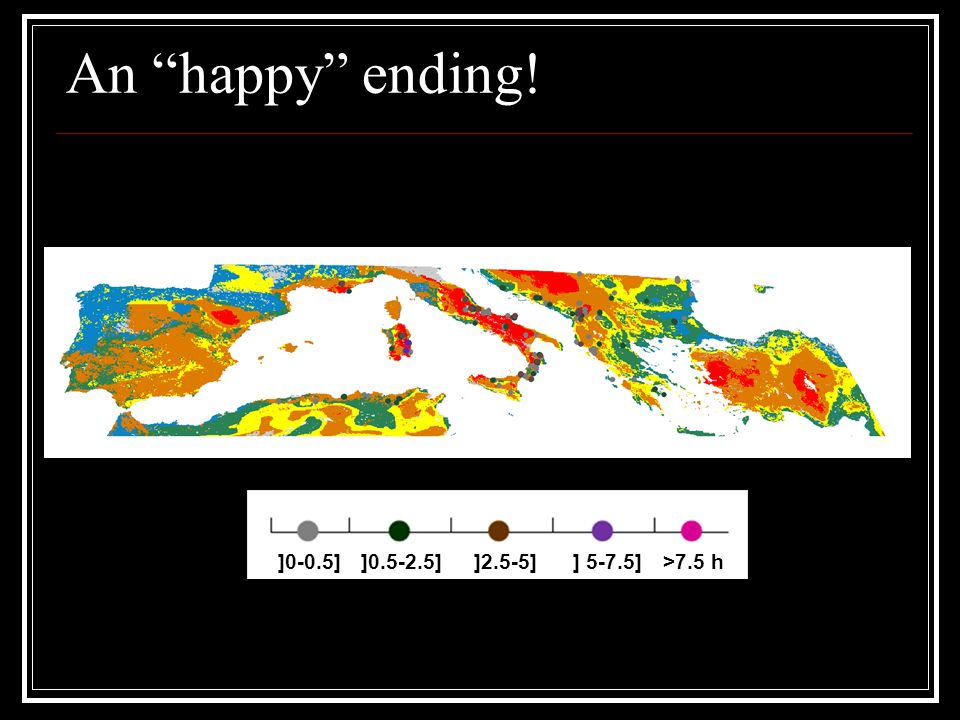 An happy ending! ]0-0.5]]0.5-2.5]]2.5-5]] 5-7.5]>7.5 h
