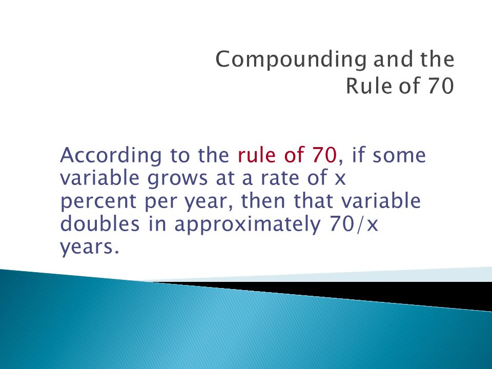 According to the rule of 70, if some variable grows at a rate of x percent per year, then that variable doubles in approximately 70/x years.