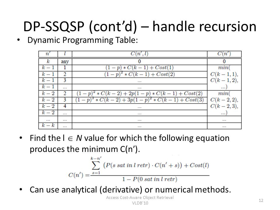 DP-SSQSP (contd) – handle recursion Dynamic Programming Table: Access Cost-Aware Object Retrieval VLDB'10 12 Find the l N value for which the followin