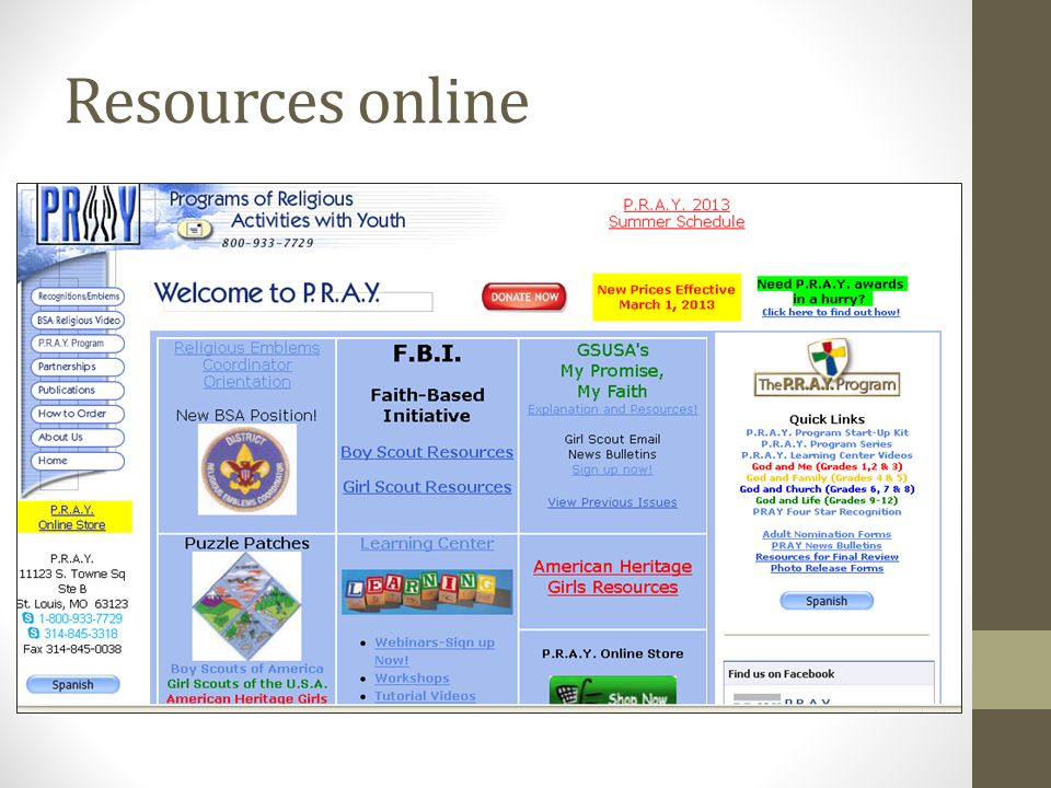 Resources online
