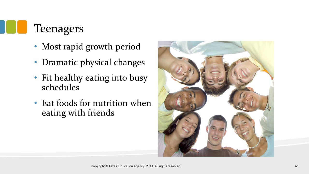 Teenagers Most rapid growth period Dramatic physical changes Fit healthy eating into busy schedules Eat foods for nutrition when eating with friends C