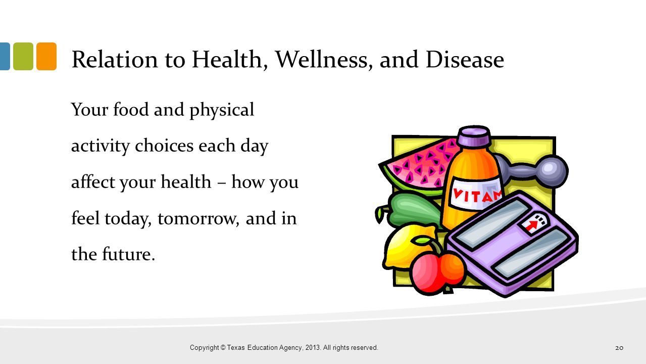 Relation to Health, Wellness, and Disease Your food and physical activity choices each day affect your health – how you feel today, tomorrow, and in t