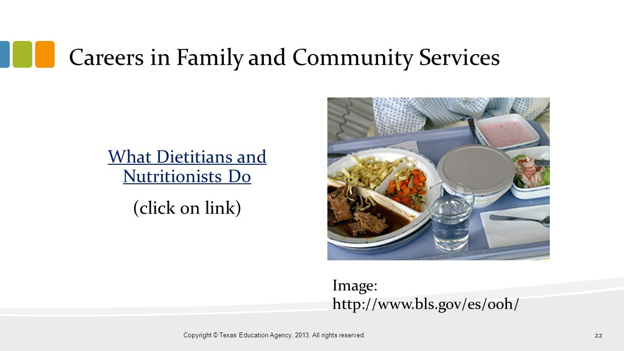 Careers in Family and Community Services What Dietitians and Nutritionists Do (click on link) Copyright © Texas Education Agency, 2013. All rights res