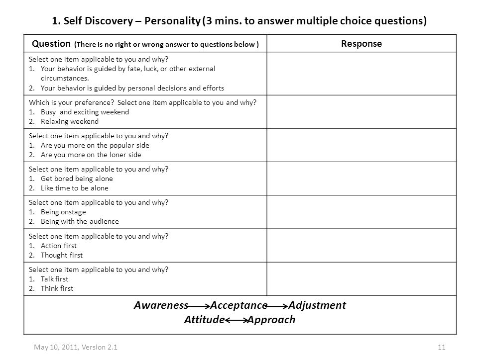 1. Self Discovery – Personality (3 mins. to answer multiple choice questions) Question (There is no right or wrong answer to questions below ) Respons