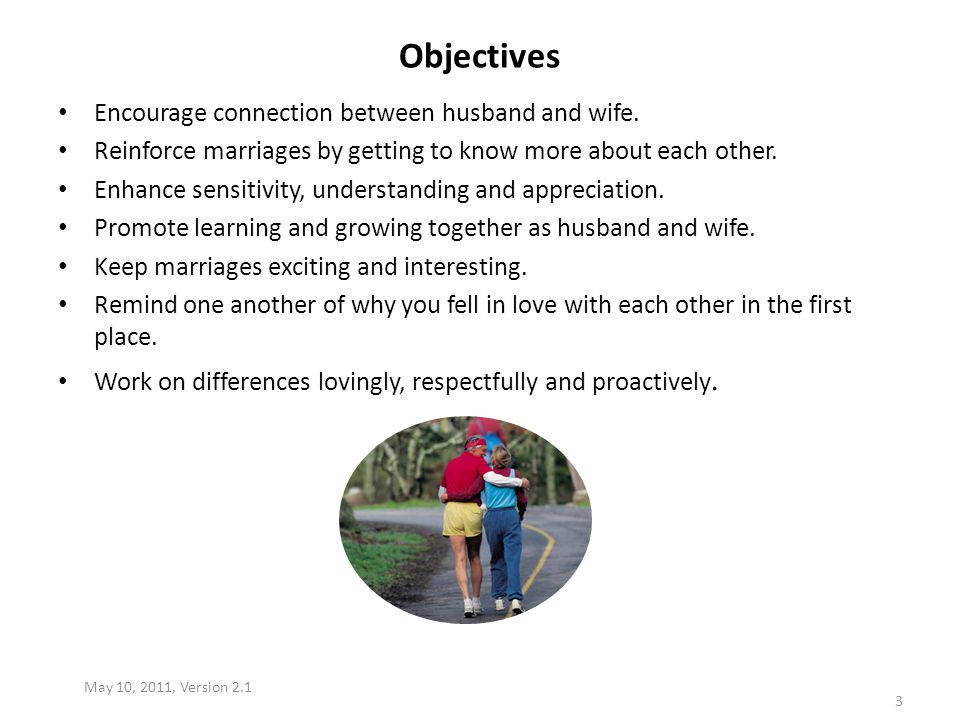 Objectives Encourage connection between husband and wife. Reinforce marriages by getting to know more about each other. Enhance sensitivity, understan