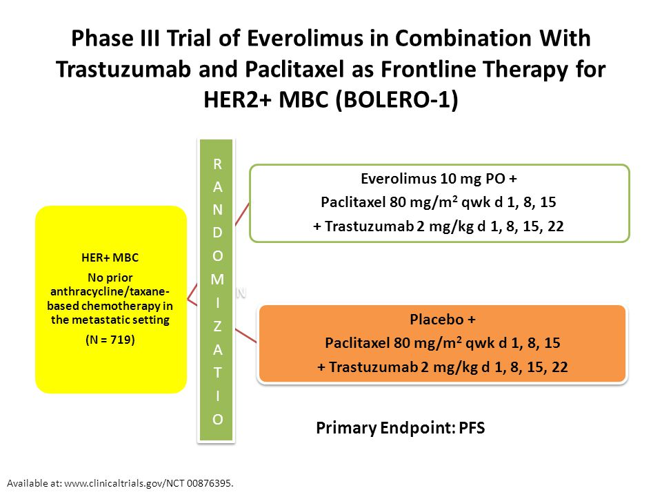 Phase III Trial of Everolimus in Combination With Trastuzumab and Paclitaxel as Frontline Therapy for HER2+ MBC (BOLERO-1) Primary Endpoint: PFS Avail
