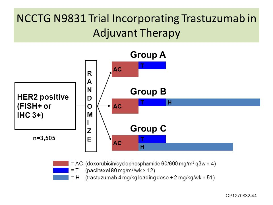 NCCTG N9831 Trial Incorporating Trastuzumab in Adjuvant Therapy CP1270832-44 RANDOMIZERANDOMIZE HER2 positive (FISH+ or IHC 3+) Group A Group C Group