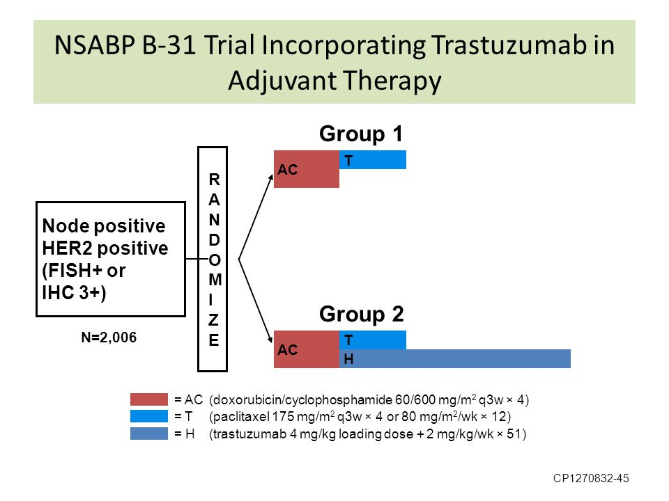 NSABP B-31 Trial Incorporating Trastuzumab in Adjuvant Therapy CP1270832-45 RANDOMIZERANDOMIZE Node positive HER2 positive (FISH+ or IHC 3+) Group 1 G